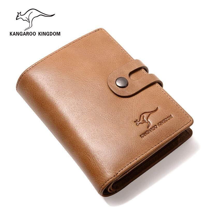 KANGAROO KINGDOM Vintage Luxury Brand Men Wallets Genuine Leather Hasp Zipper Credit Card .