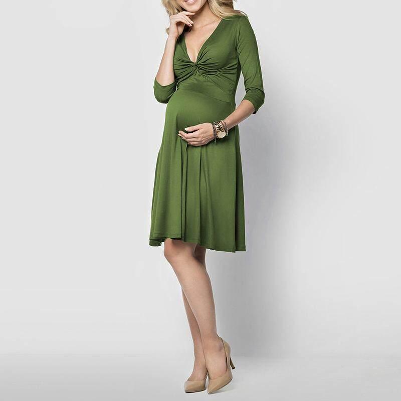 Maternity Women Pregnancy Knee Dress V Neck 3/4 Sleeve Stretch Plus Size Dresses Army