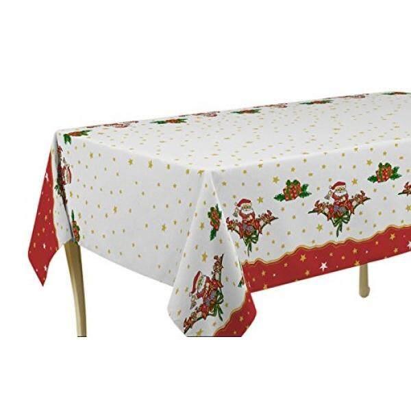 Taplak Meja Saya Jolie Rumah 63 Inci Taplak Meja Bundar Putih dan Merah Natal Santa dengan Bintang Emas, Tahan Noda, bisa Dicuci, Tumpahan Cairan, Kursi 4 untuk 6 Orang (Ukuran Lain: 60X80 60X95, 60X120)-Intl
