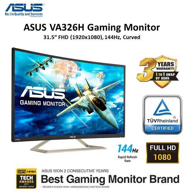 ASUS VA326H Curved 32 (31.5) FHD (1920 x 1080) Gaming monitor, VA, up to 144Hz, D-Sub, DVI, HDMI , Flicker Free, Low Blue Light, TUV certifi3 Malaysia