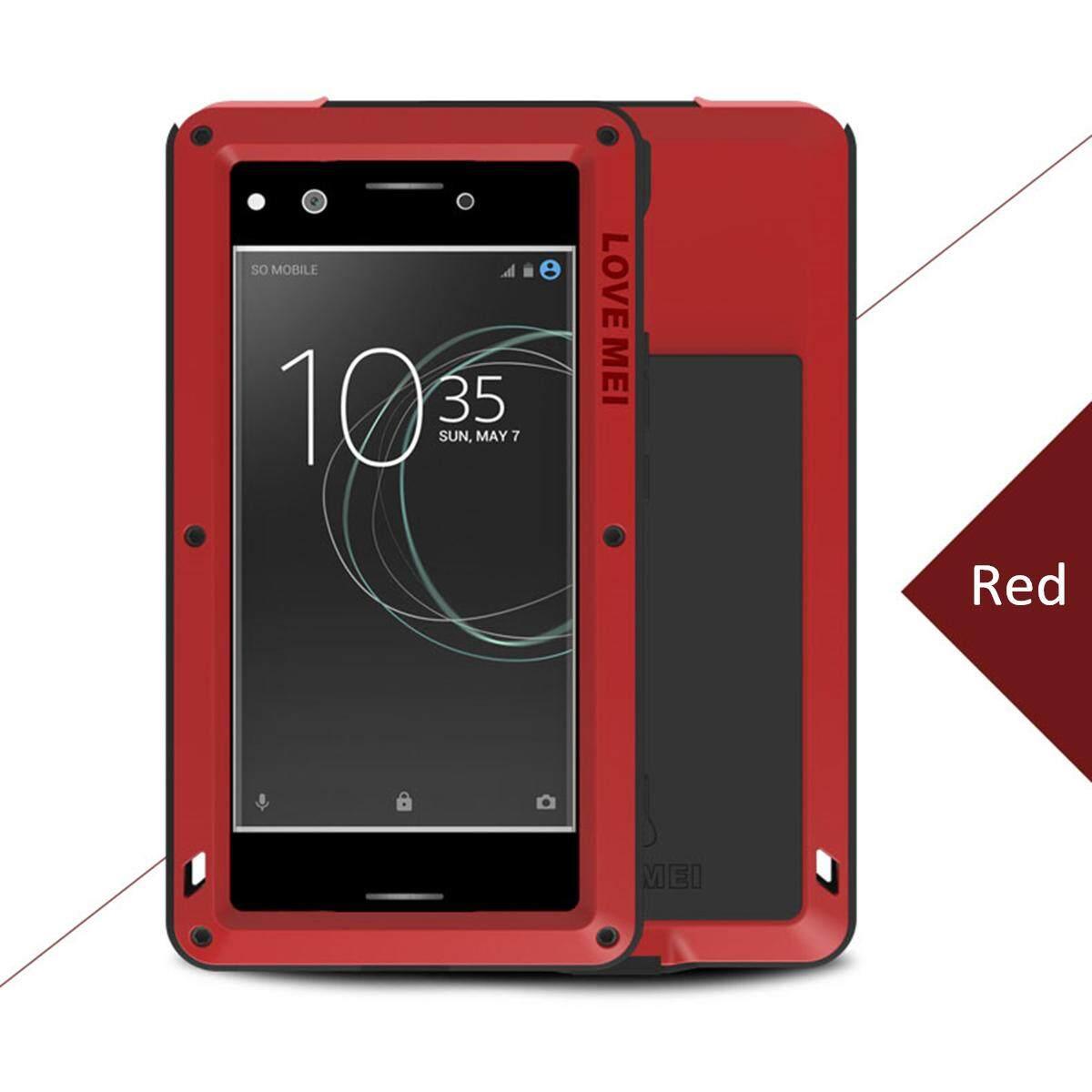 CINTA MEI Anti-Air Anti Guncangan Aluminium Logam Telepon Case untuk Sony Xperia XZ Premium Merah-Internasional