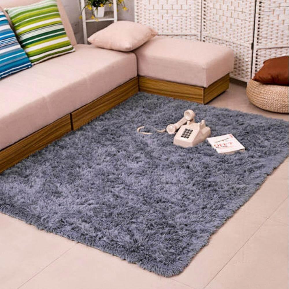 1.4 x 2m Fluffy Fashion Modern Floor Area Rug Carpet Mat Non-slip for Living Room Bedroom Bathroom Home Accessory Supplies Grey