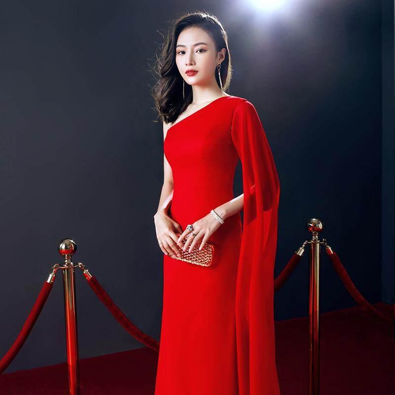 Elegan Gaun Wanita Merah Gaun Mahal Slim