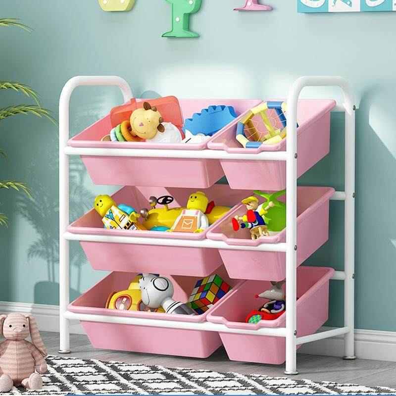 RuYiYu - 63 X 70 X 30cm, Kids Toy Organizer and Storage Bins, 6-Bins in Fun Colors, Toy Storage Rack, Steel Pipe Frame