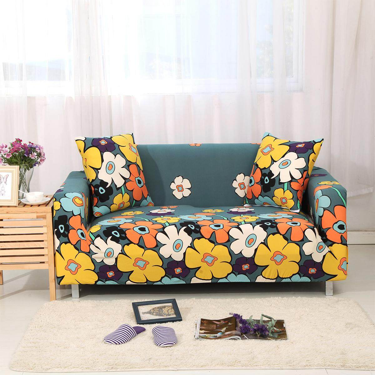 1/2/3/4 Seater Couch Sofa Slipcover Protector Cover w Pillow Case Chair Loveseat - intl