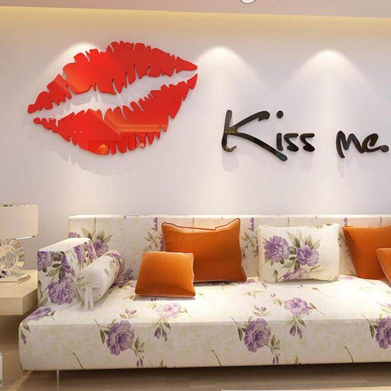 Mini Red Lips Kiss Me 3D Sticker Wall Sticker Art Home Decor Waterproof  Acrylic Crystal Three
