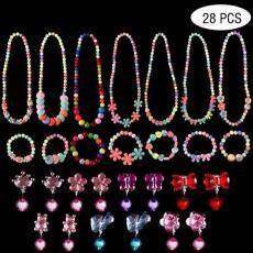 Kecil Set Perhiasan Wanita, 7 Sets Kalung Putri Gelang dan 7 Pasang Clip-On
