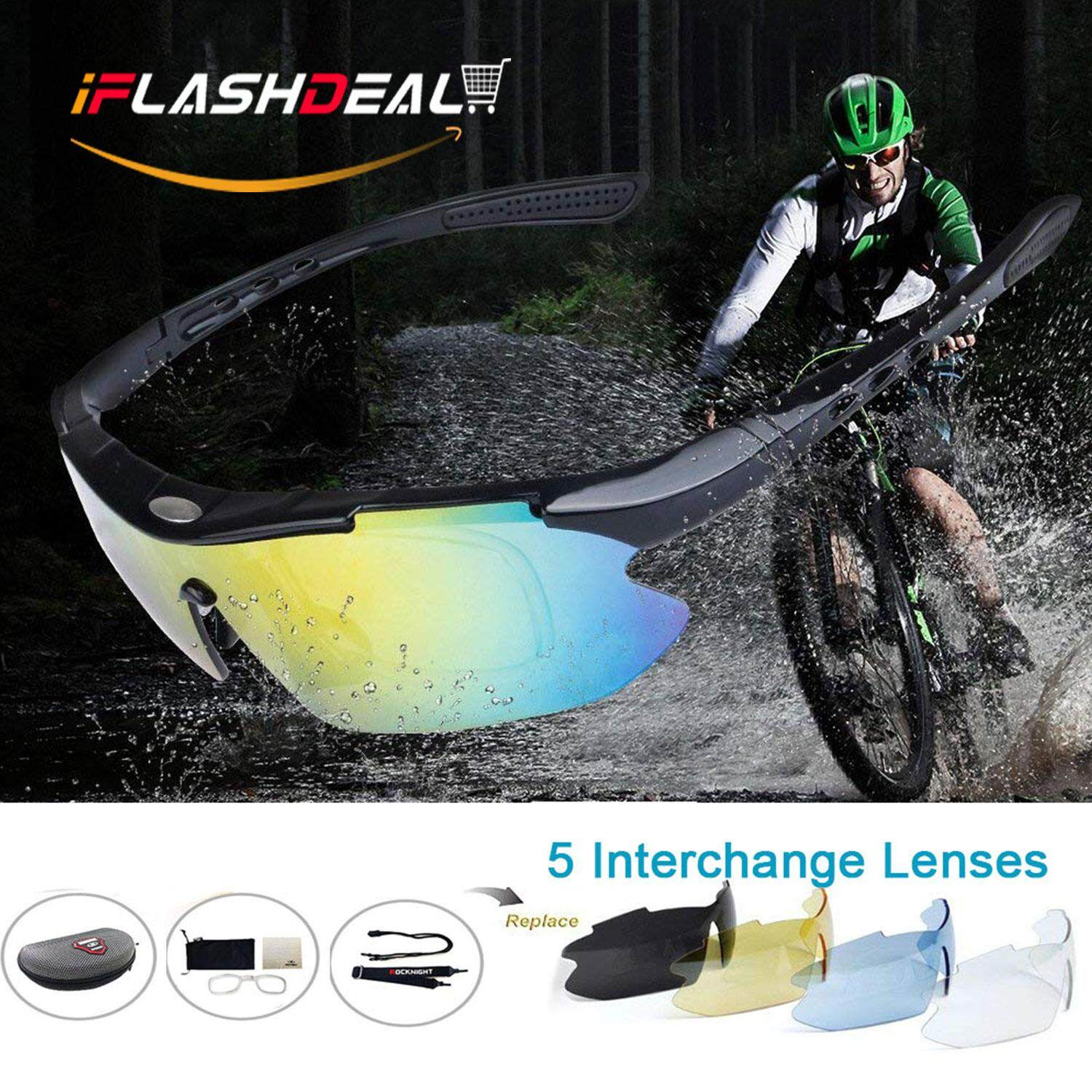 Iflashdeal Men Sports Sunglasses Polarized Outdoor Sport Driving Male Women Sun Glasses Cycling Riding Running Glasses With 5 Interchangeable Lenses By Iflashdeal.