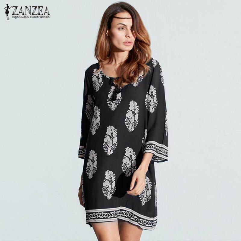 f47a5e67ab8 ZANZEA Women Bohe 3 4 Sleeve Loose Vintage Print Beach Party Long Shirt  Dress (
