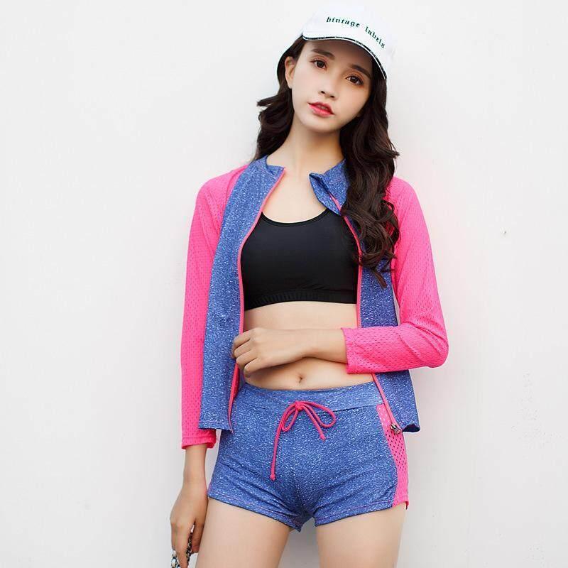 Nơi bán 4 Pieces(Coat+Pants+Bra+Boxers) 2018 Sport Women Fashion Patchwork Long Sleeve Swimsuit Beachwear - intl