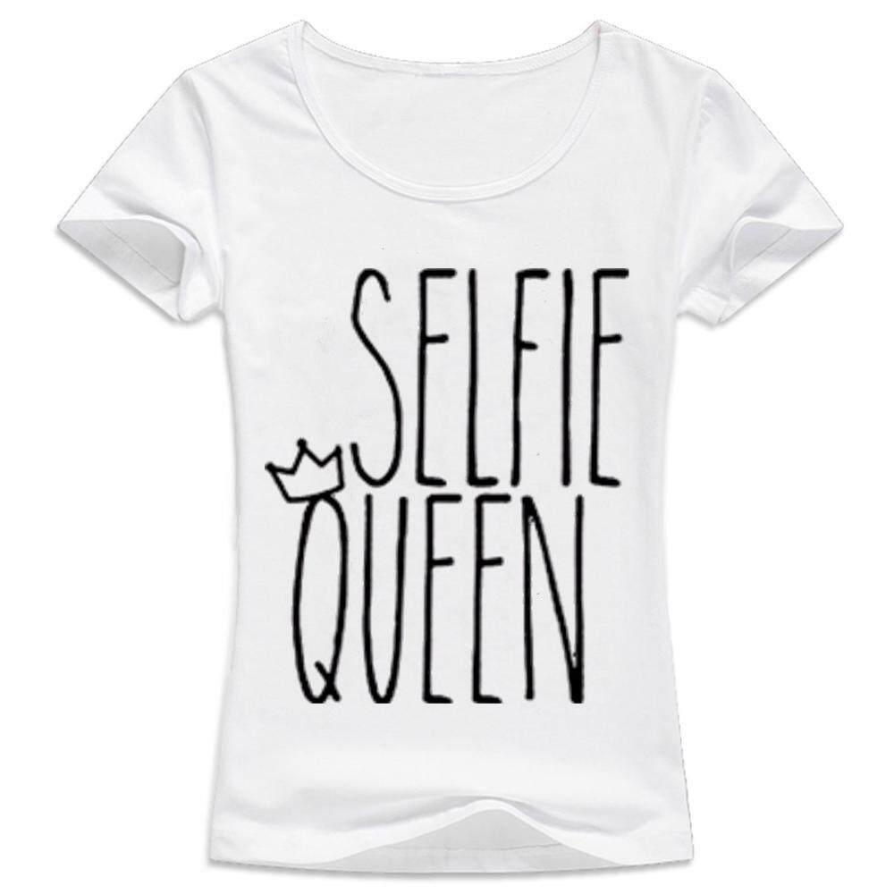 Wanita Kaus Kasual Lengan Pendek T Shirt Tshirt Kemeja Selfie Queen Slogan Wanita Hipster Wanita Femme