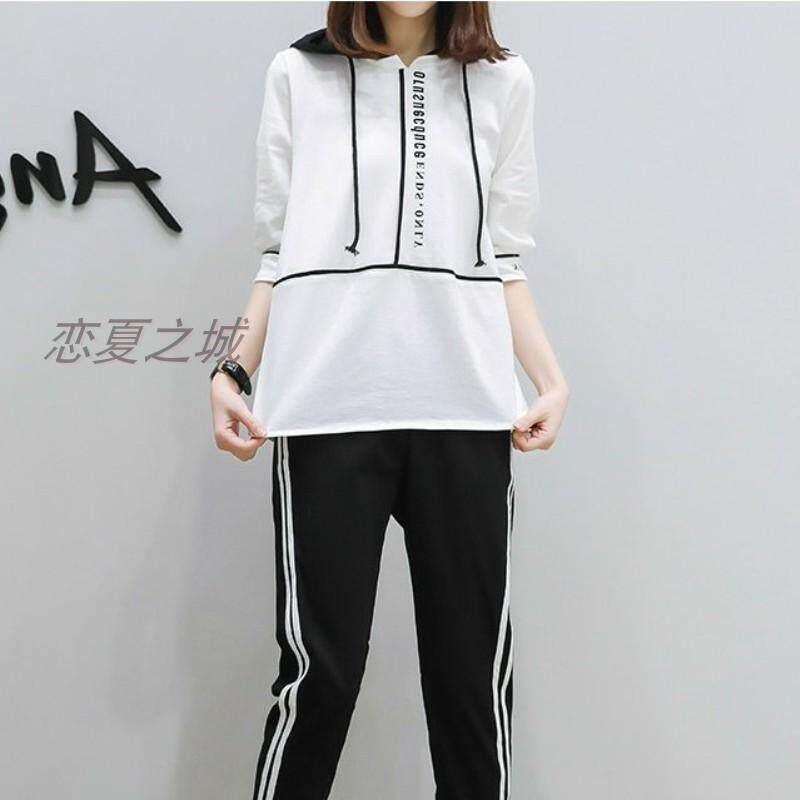 Gaya Korea netral Terlihat Langsing Set gadis musim panas lengan setengah  panjang hoodie Kaos Sweater celana a08f6e6934