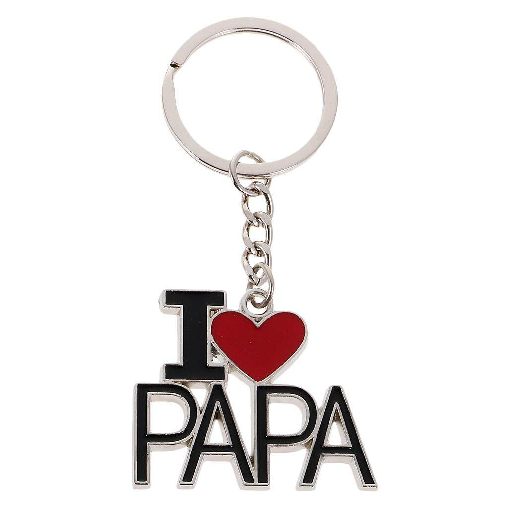 MagiDeal Modern I Love Parent Pendant Alloy Key Ring Bag Decoration Black Red Papa