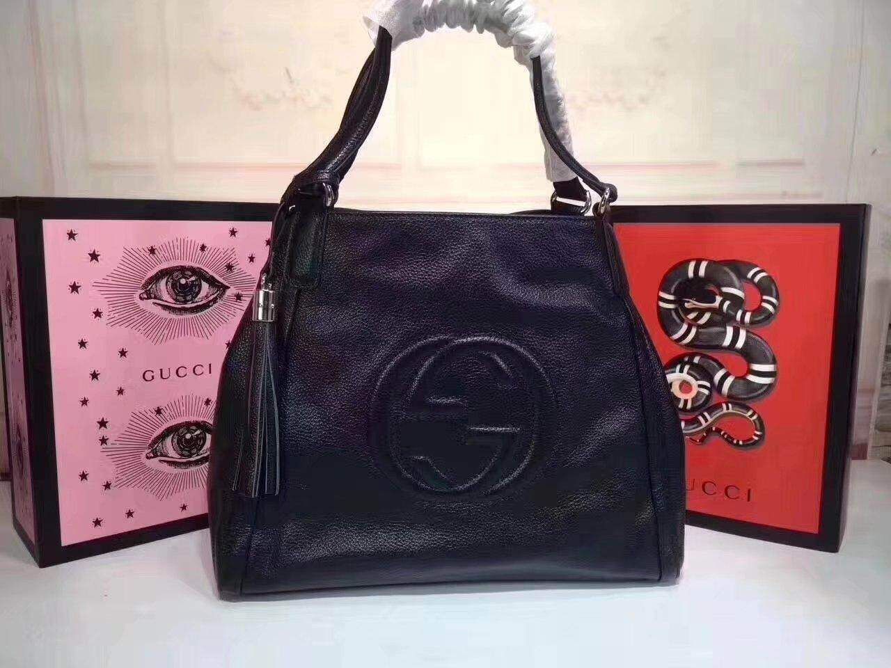 2018 Gucci Soho Top Handle Tote Leather Satchel Medium Hand Bag
