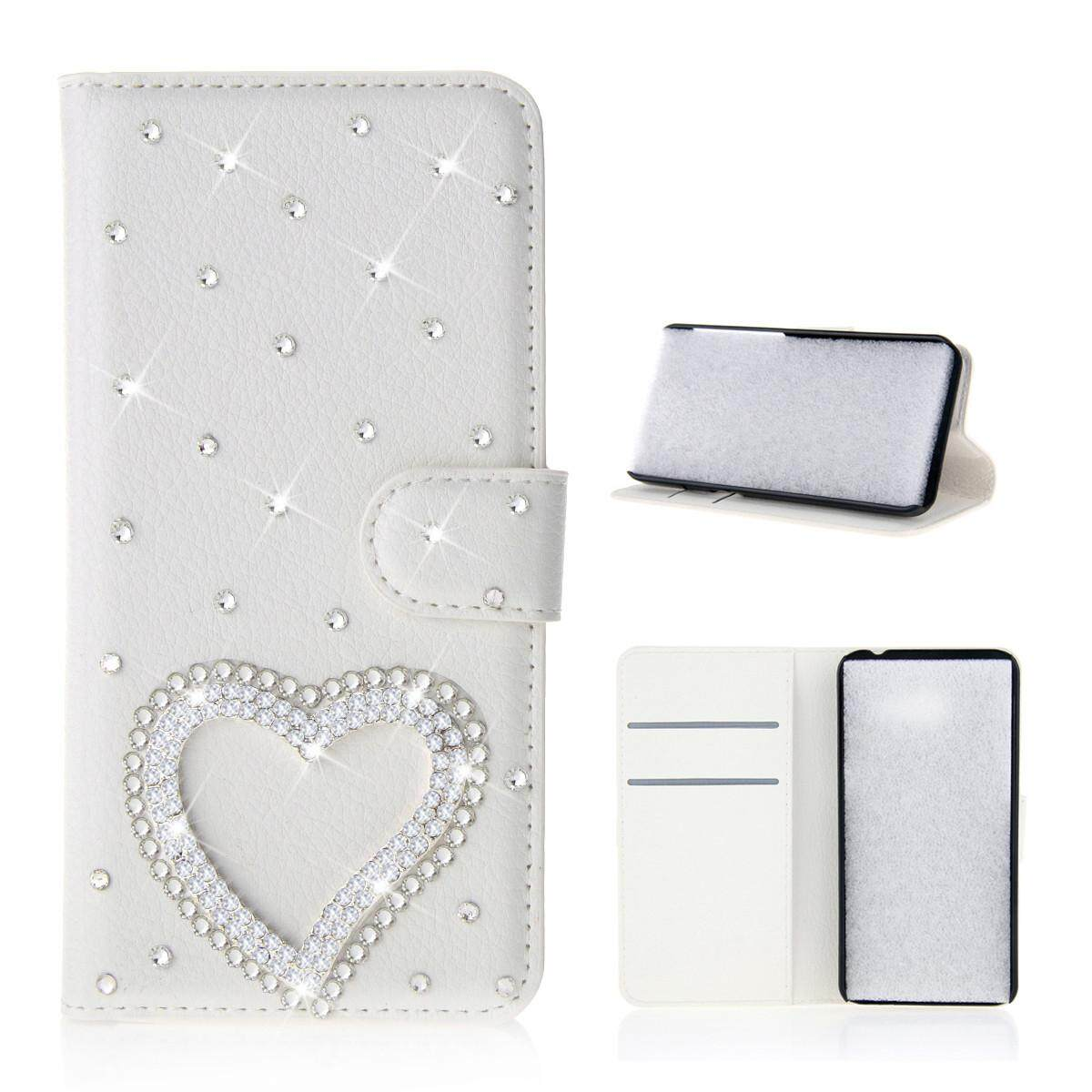 Case for Alcatel U5 HD 3D Bling Diamond Rhinestones PU Leather Wallet Case Flip Stand Card Slots Cover with Magnetic Closure - intl