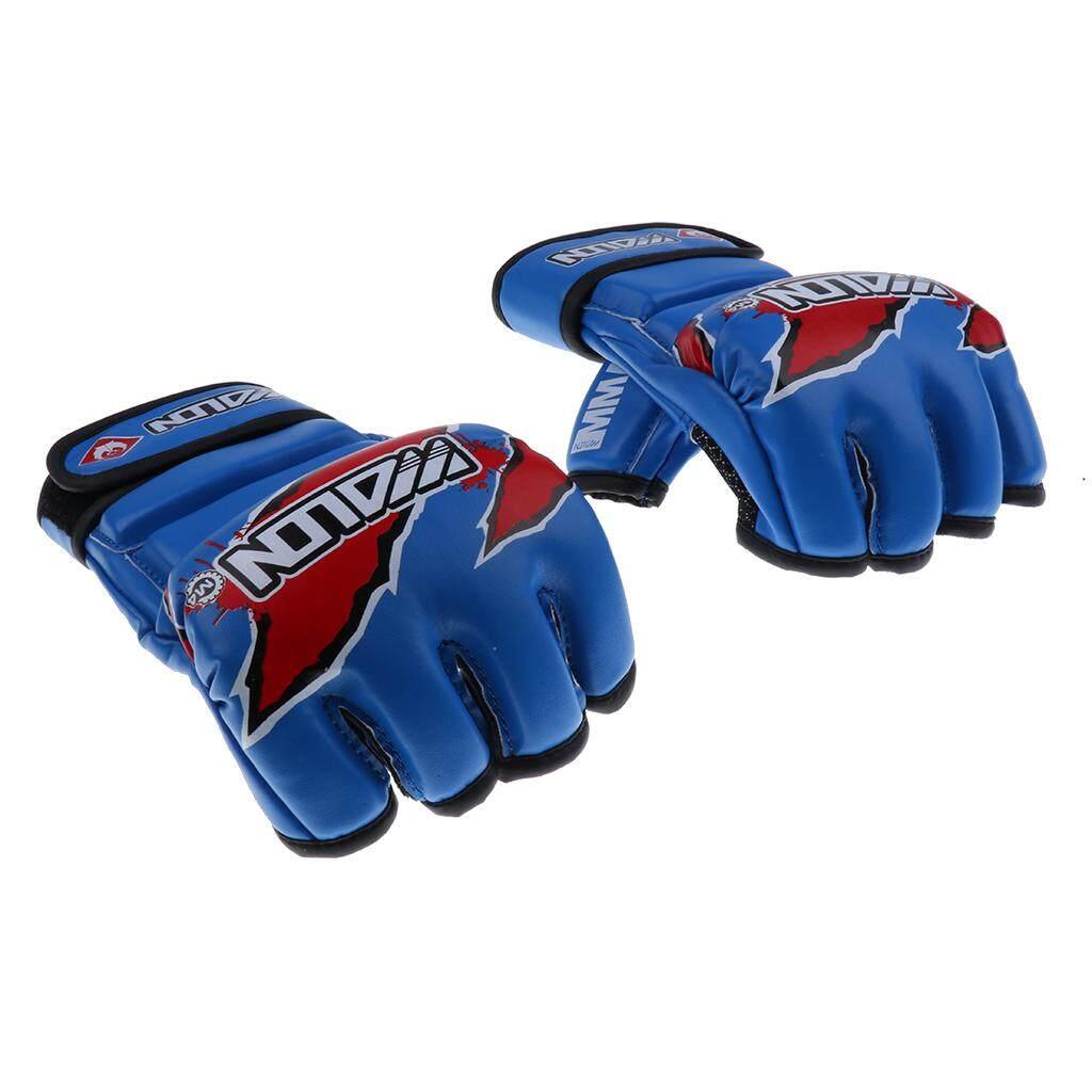 Miracle Shining MMA Boxing Gloves PU Half Finger Fighting Muay Thai Training Gloves Blue - intl
