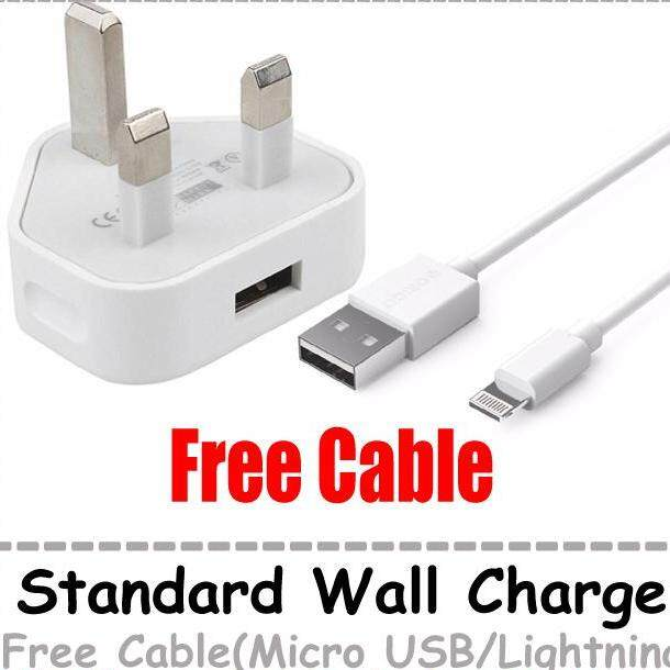 Standard Wall Charger With Cable UK 3 Pin Phone Charger With Cable