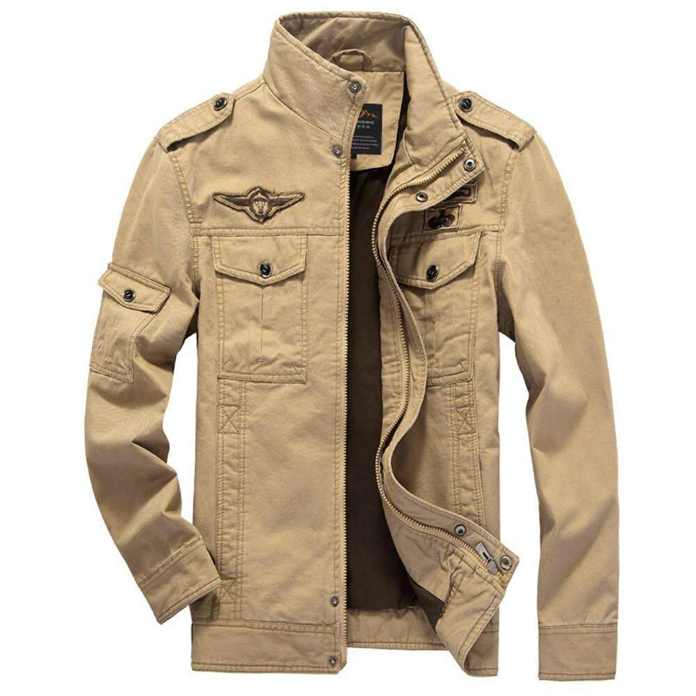 OEM Pria Militer Angkatan Darat Gaya Jaket Katun Fashion Angkatan Udara Kasual Zip Up Tahan Dr (Bebek Karet Kuning)