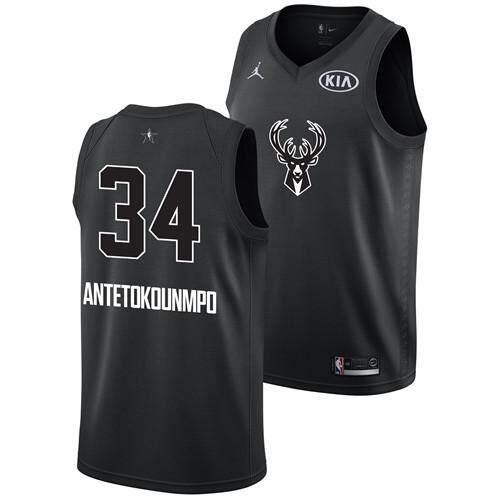 Nike Official Men All Star 2018 Black Swingman Basketball Jersey Milwaukee Bucks 34 Giannis Antetokounmpos By Saljqfue.