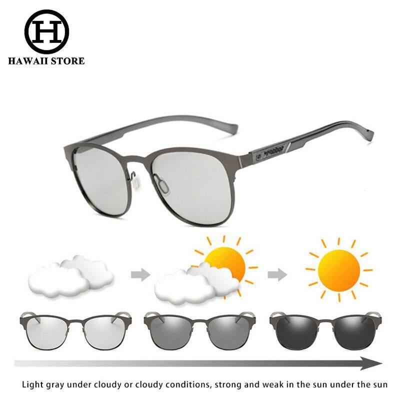 Hawaii Aluminium Magnesium Kacamata Bulat Pria Kacamata Fotokromik Pria Menggerakkan Terpolarisasi Kacamata Hitam Bunglon Drive-Intl