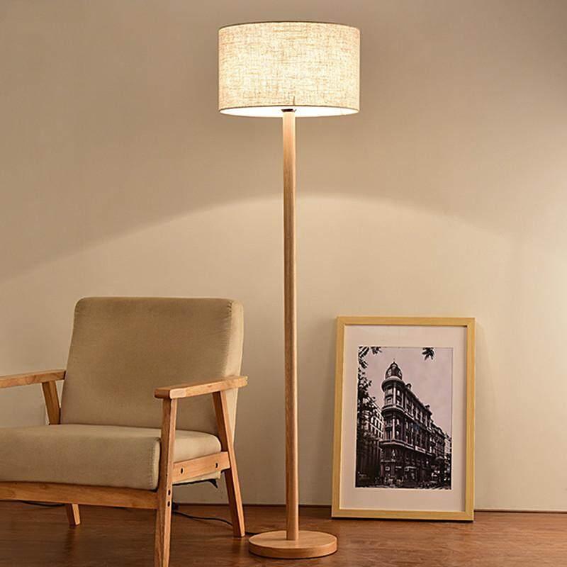 Nordic Original Wood Living Room Floor Lamp. Simple Bedroom Solid Wood Vertical Personality Vertical Floor Lamp