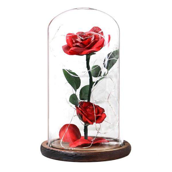 GoodGreat Beauty and the Beast Rose Kit, Artificial Silk Rose and Led Light in Glass Dome on Wooden Base, Romantic Gift for Her, Home Decor Holiday Party Wedding Anniversary