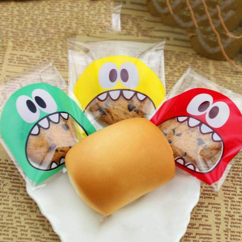 100Pcs 7X7Cm Cartoon Monster Cookie Candy Bag Self-Adhesive Plastic Bags For Biscuits Baking Package