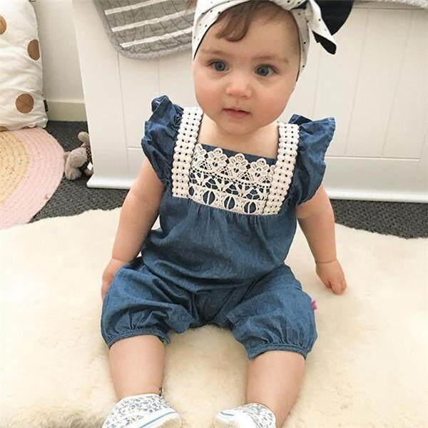 a315a553a New Summer Baby Girl Clothes Denim Romper Ruffles Sleeves Newborn Baby  Rompers Jumpsuit Outfits Body Suits