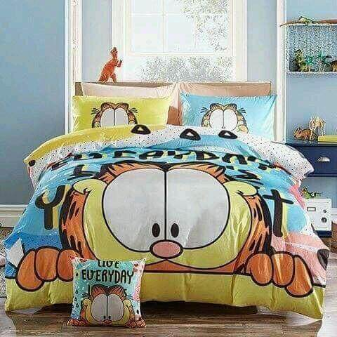 (Garfield - King Size)5 in 1 Bed Sheet set Cute Cartoon Design Fitted Bed Sheets ( Fitted Sheet: 60cm x 80cm x 16cm )