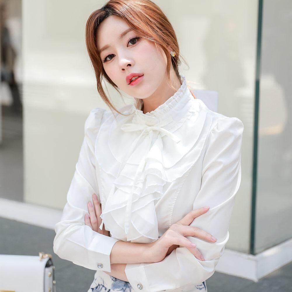 0c3927dfec7de2 Women s White Shirts Long Sleeves Chiffon Blouse Lace Flounce Collar Solid  Color Office Lady Shirt