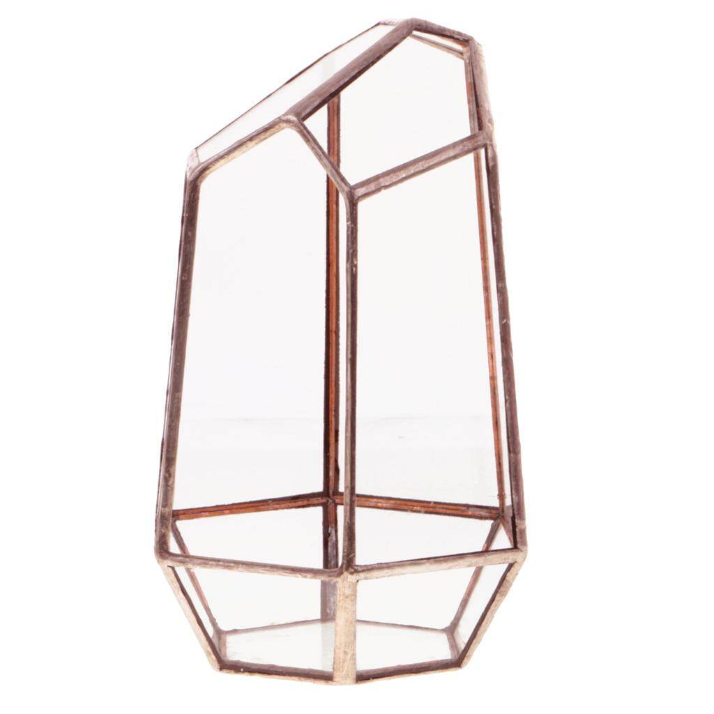 GuangquanStrade Irregular Glass Geometric Terrarium Box Plant Planter 10 x 10 x 15cm Copper