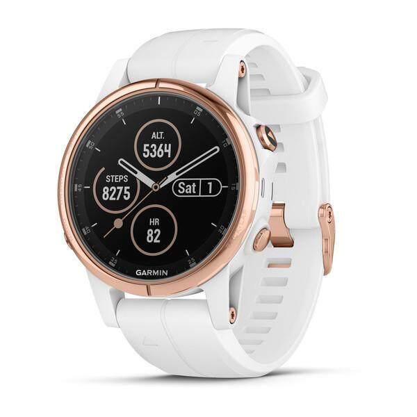 ราชบุรี Garmin Fenix 5 วินาที PLUS Sapphire Multisport Premium นาฬิกาจีพีเอสสีขาว/ทองคำสีกุหลาบด้วยสายโลหะ & ซิลิโคนสีขาว