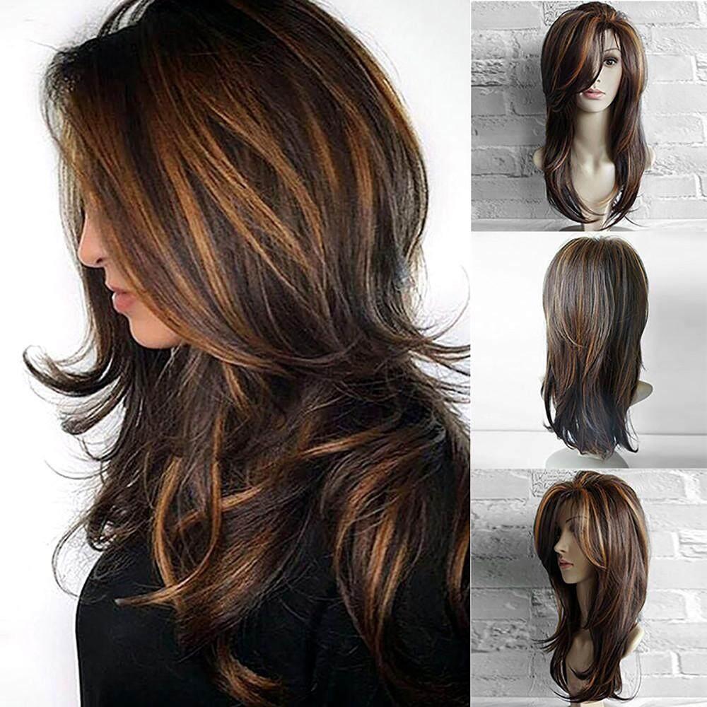 [KENDETY] 65 CM Sexy Gradient Brown Tóc giả hóa trang Tóc Xoăn Dài Màu Sắc Hỗn Hợp tóc giả tổng hợp