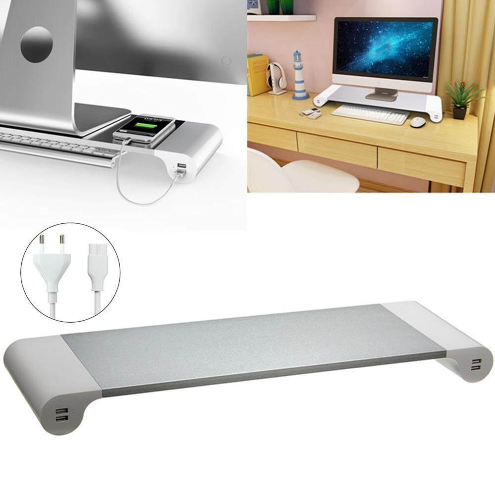 Vankel 1 Set Of 2 Aluminum Brackets With USB Charging Port, Computer Monitor And Laptop Stand, Desktop Organizer(EU Charger) - intl