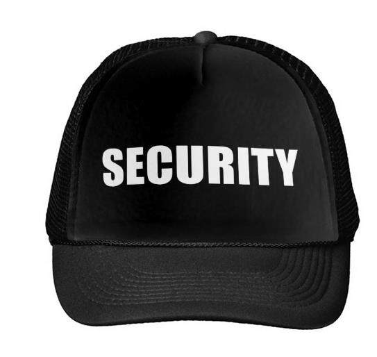 9f2715dea12 SECURITY Letters Print Baseball Cap Trucker Hat For Women Men Unisex Mesh  Adjustable Size Black White