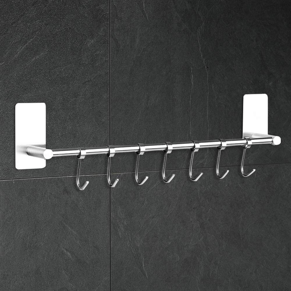Inventive 1pc Wall Mounted Double Hook Multi-function Single Hook Rail Coat Rack Home Storage Organization For Kitchen Bedroom black Bathroom Hardware Home Improvement