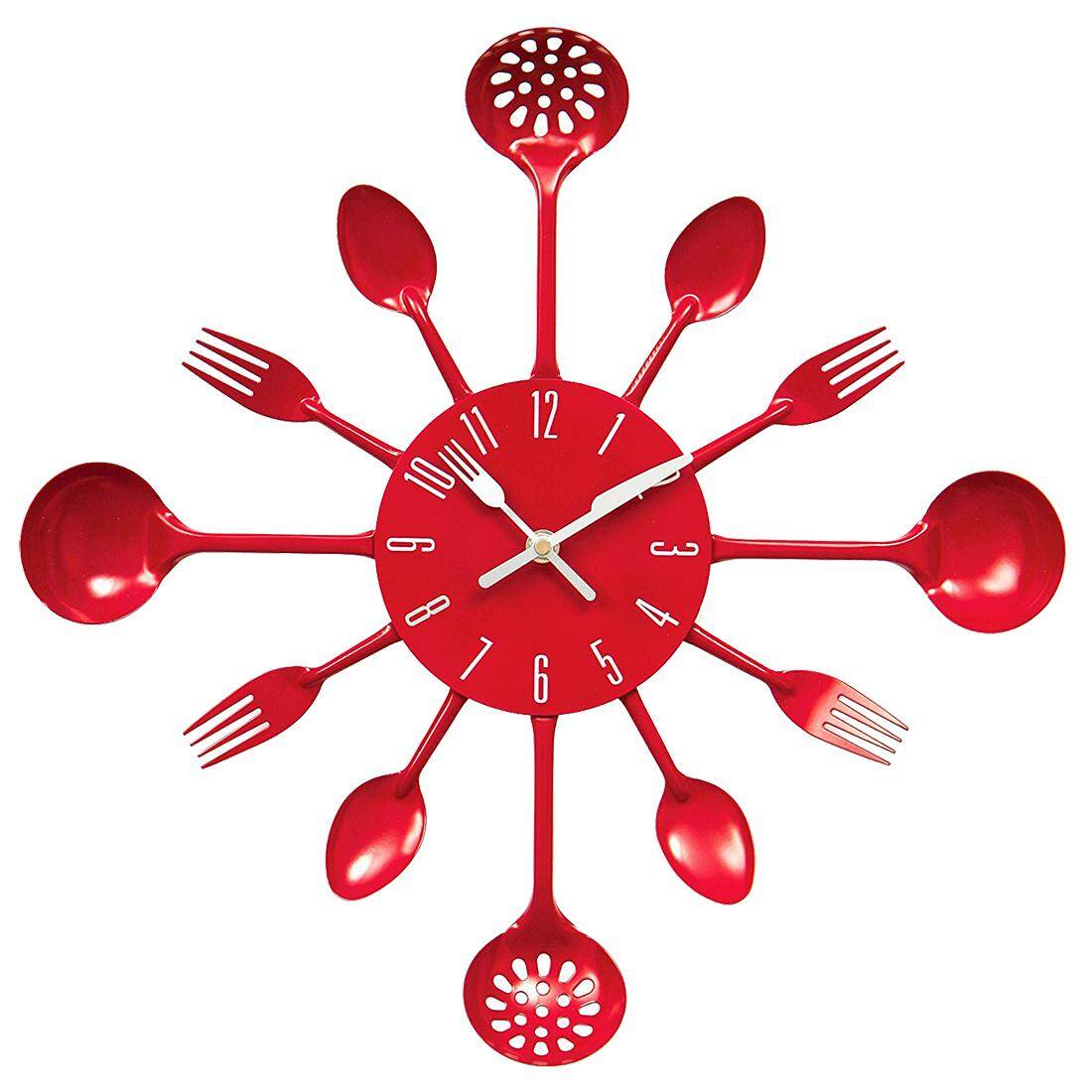 Housewares Cutlery Wall Clock - Red