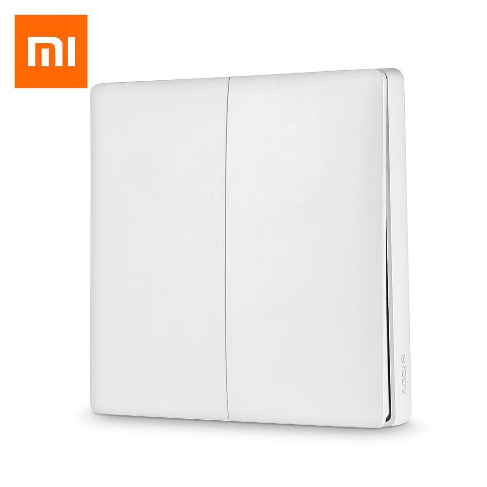 【100% Original】Xiaomi Aqara Wall Switch Smart Light Control (With Neutral Line) ZigBee Version Double Key Version (Need To Work With Xiaomi Multifunctional Hub / Aqara Air Conditioner Controller)-------For Mijia APP/ HomeKit