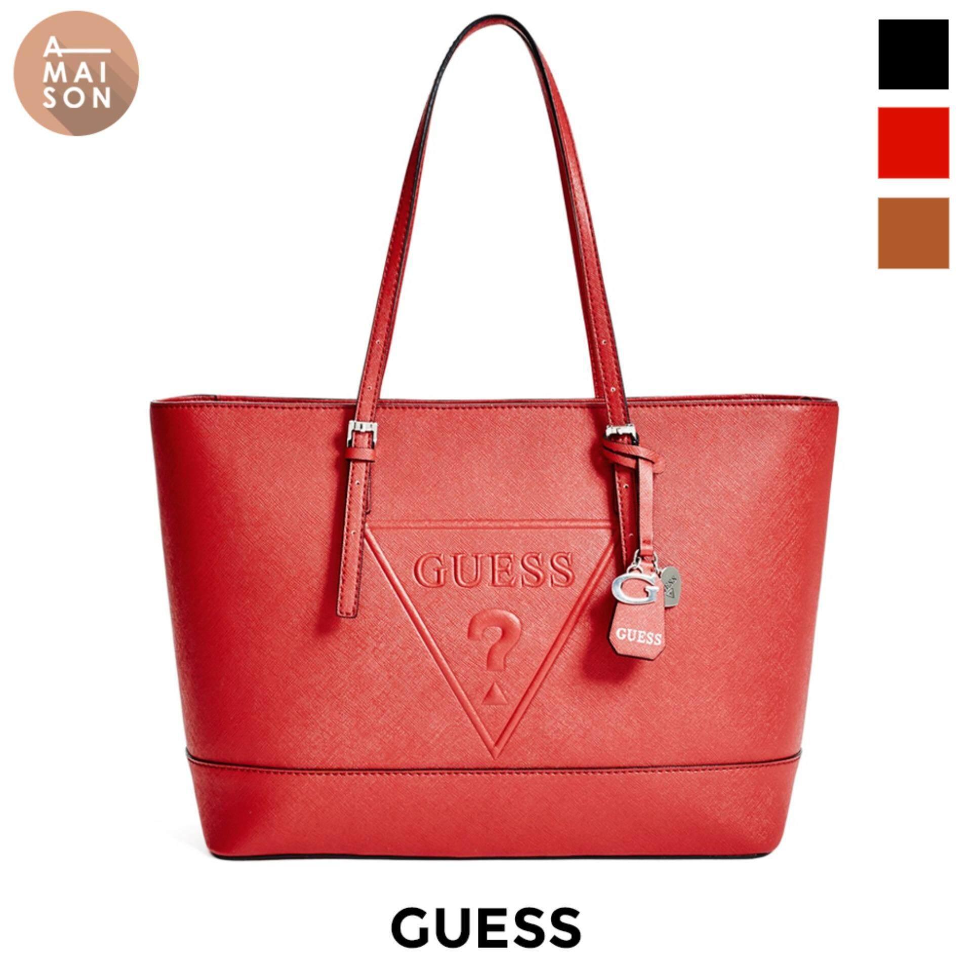 Authentic Guess Peak Embossed Logo Oversized Minimal Handbag Shoulder Tote Bag