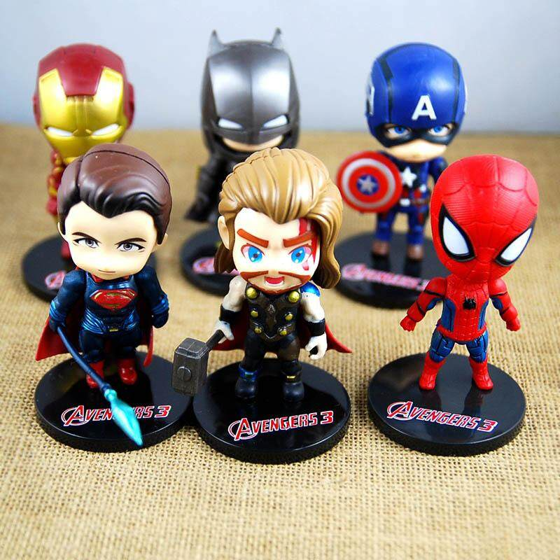 6Pcs/set Avenger Mini Figures Batman Iron Man Thor Action Toys Superhero Model Toys for Boys - intl