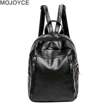 Harga preferensial Mojoyce Adjustable Wanita Sederhana Modis Korea Lembut PU Tas Sekolah Tas Bahu Ransel Hitam beli sekarang - Hanya Rp77.765