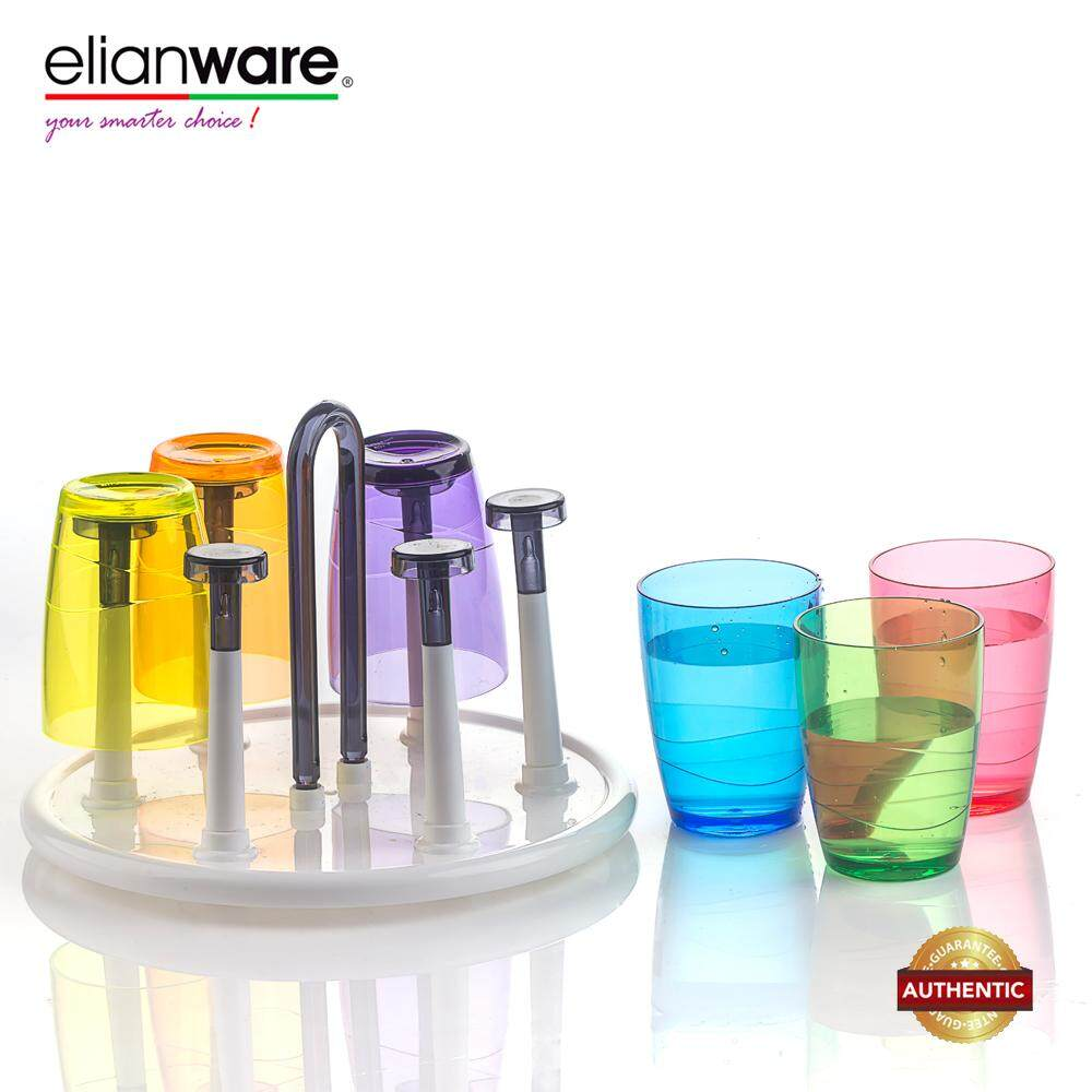 Eilanware 330ml x 6 Pcs Colourful Clear Drinking Cup Set with Round Tray Holder