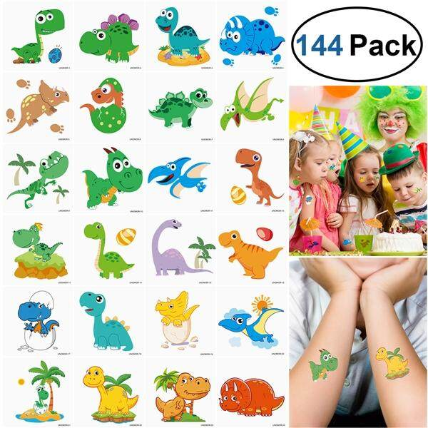 Unomor 144 Pcs Temporary Tattoos Dinosaur Stickers Party Supplies Party Favors For Boys Girls By Chaoshihui.
