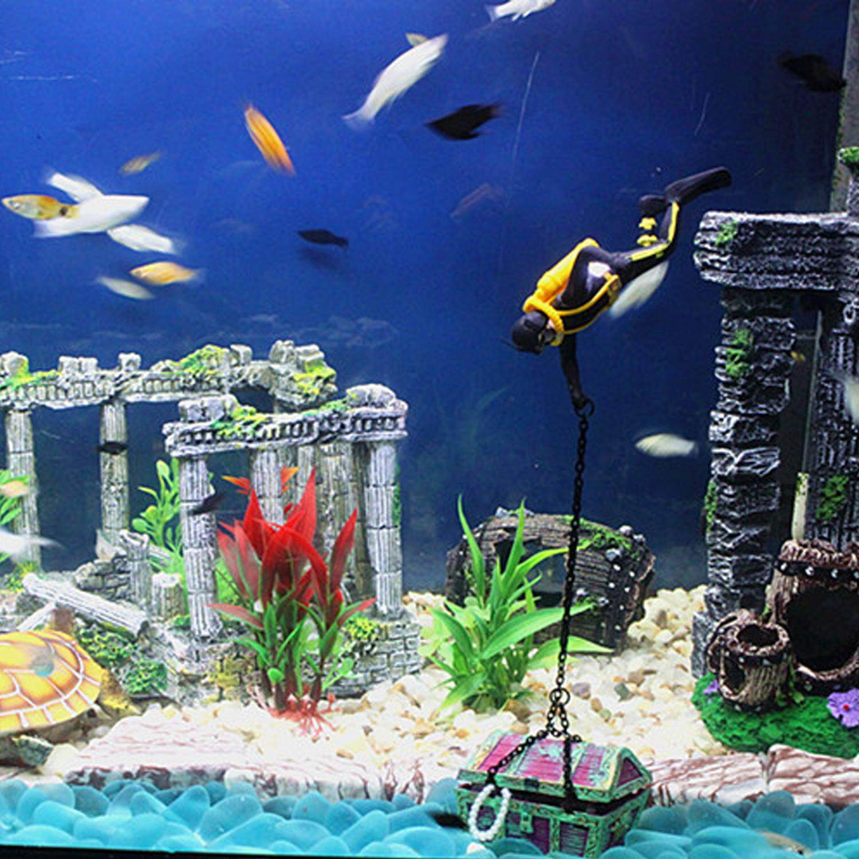 ... Jelas Treasure Hunt Frogman Penyelam Aksi Tokoh Hiasan Tangki Ikan Hiasan Akuarium Dekor Lanskap (Oranye