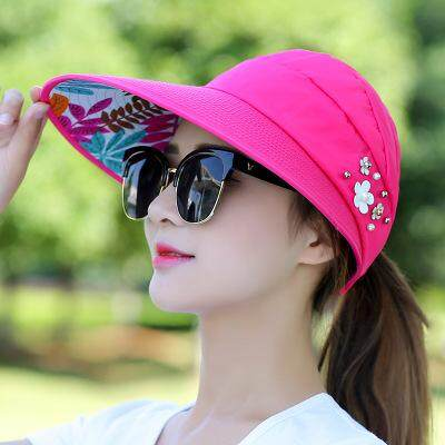 Moonar Women Summer Fashion Casual Folding Wide Brim Flower Print Beach  Anti- UV Travel Hat 05b4eea8be91