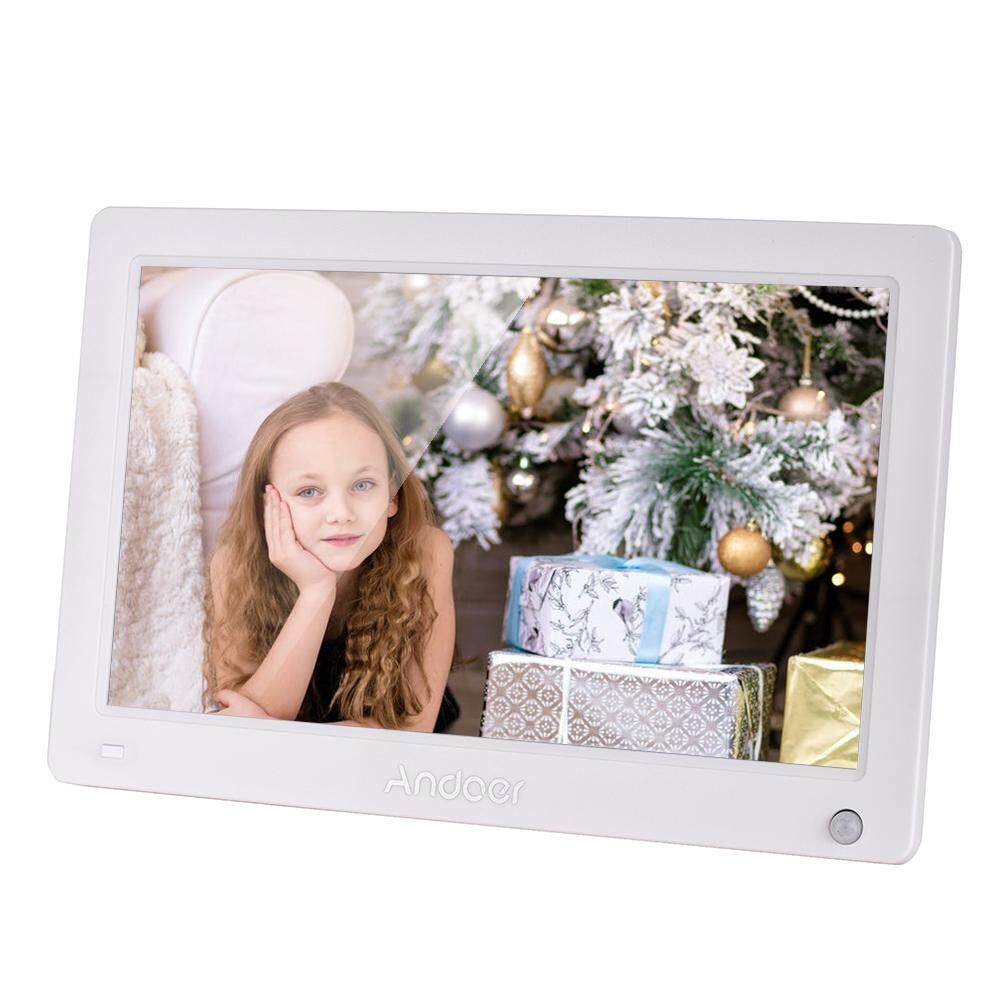 SuperDeal2019 Andoer 11.6 Inch Digital Photo Frame IPS Full View Screen Eletronic Picture Album High Resolution 1920*1280(16:10) Support 1080P HD Video AV Input Clock with Motion Sensor Remote Control White EU Plug
