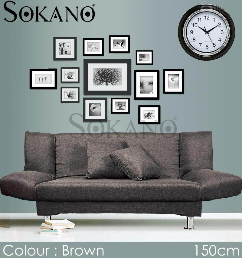 SOKANO SF004 Premium 2 Seaters Foldable Canvas Sofa Bed come with FREE 2 Pillows (150cm)