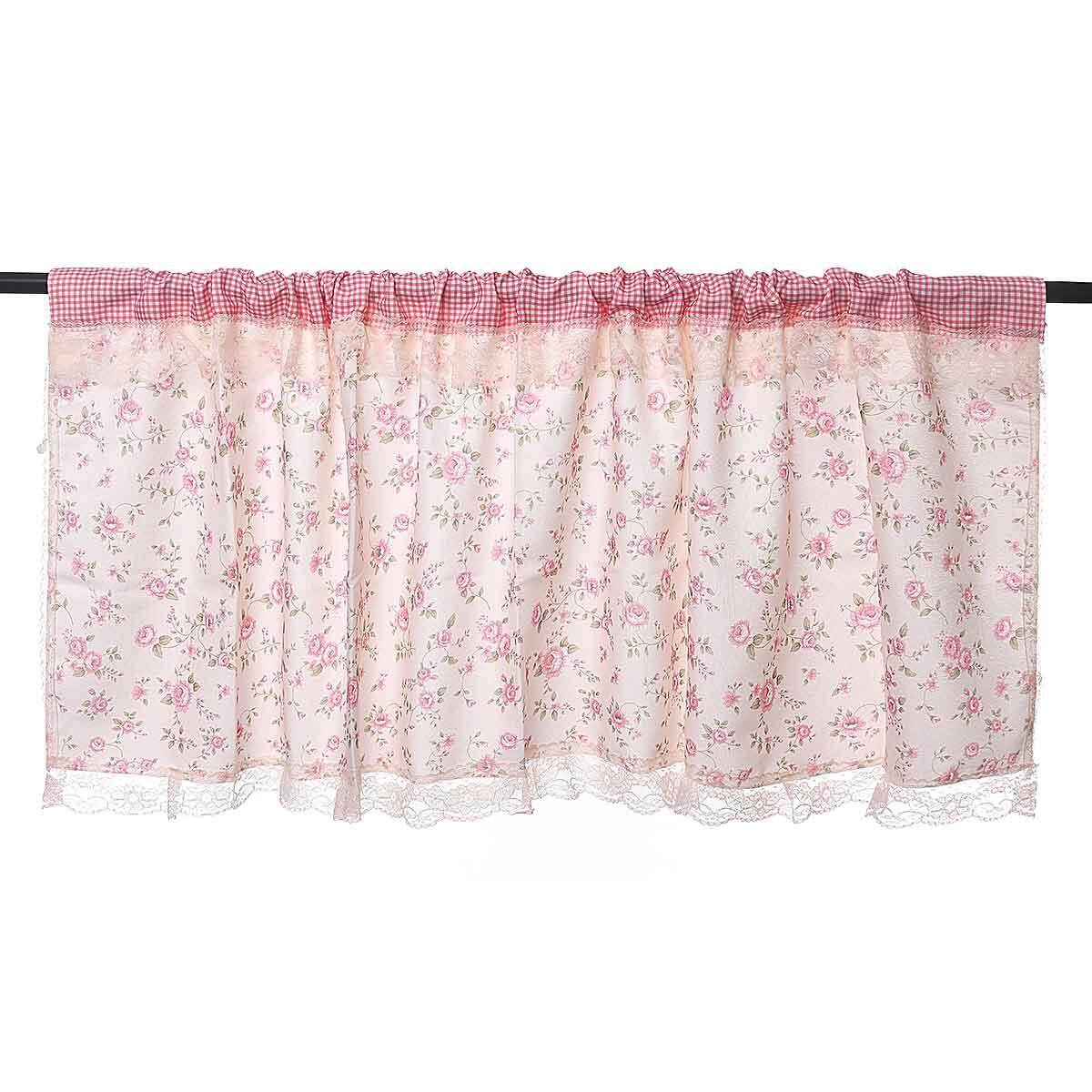 Country Style French Provincial Home Kitchen Blue Pink Rose/Plaid Cafe Curtain - intl