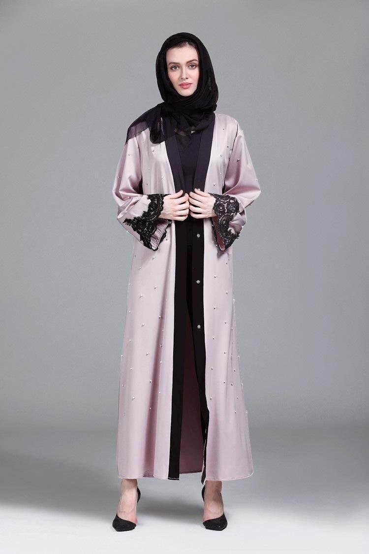 Vinmax Timur Tengah, Mantel Manik-manik, Renda Saudi Muslin Gamis (With Belt)