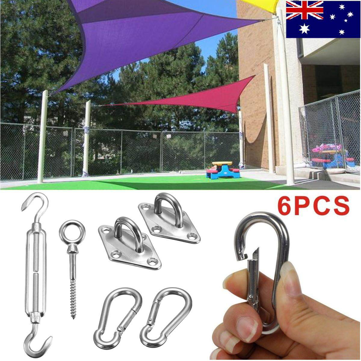6Pcs Stainless Steel Sun Sail Shade Fixings Fittings Kits Garden Awning Canopy